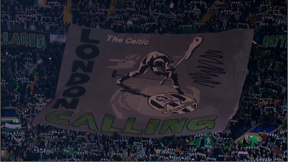 Celtic fans banner against juventus