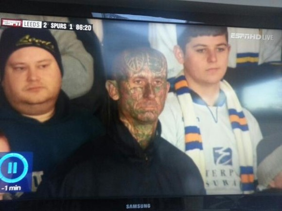 Leeds fan with his whole head tattooed
