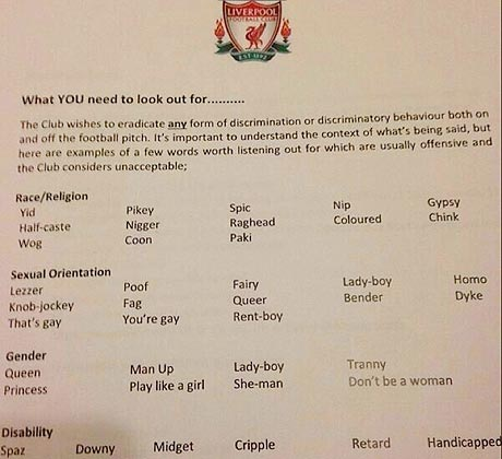 Liverpool FC produce a document of unacceptable words/phrases
