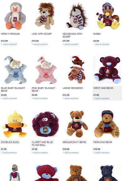 West Ham Stuffed Toys