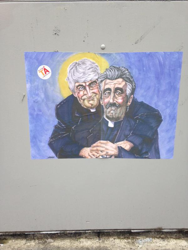 father ted and father stone star in top notch 39 vote yes 39 mural. Black Bedroom Furniture Sets. Home Design Ideas