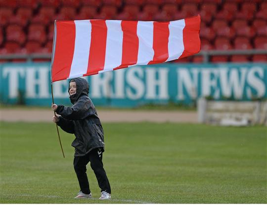 19 May 2015; A young Derry City fan before the game. EA Sports Cup Quarter-Final, Derry City v Shamrock Rovers, The Brandywell, Derry. Picture credit: Oliver McVeigh / SPORTSFILE