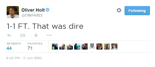 italia 90 english twitter reaction