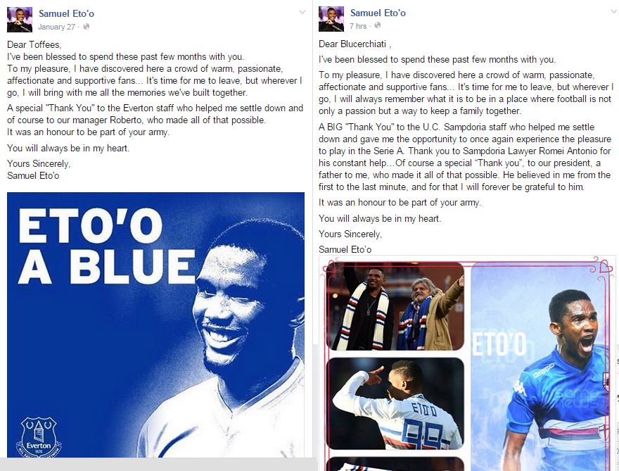 samuel eto'o leaving message