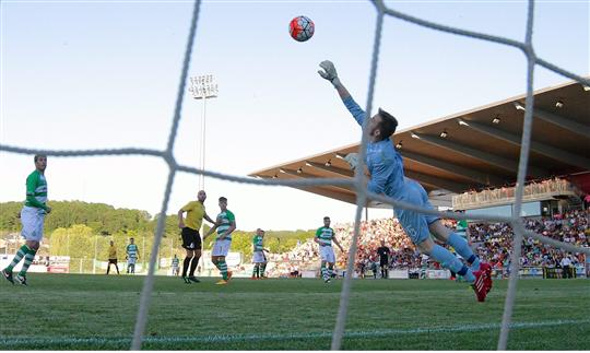 30 June 2015; Shamrock Rovers goalkeeper Craig Hyland makes a save late in the game. UEFA Europa League, First Qualifying Round, 1st Leg, FC Progrès Niederkorn v Shamrock Rovers, Stade Municipal de la Ville de Differdange, Luxembourg. Picture credit: Gerry Schmit / SPORTSFILE