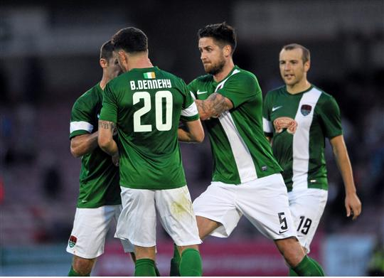 2 July 2015; Darren Dennehy attempts to break up a coming together between Billy Dennehy and Mark O'Sullivan after the final whistle, Cork City FC. UEFA Europa League, First Qualifying Round, First Leg, Cork City FC v KR Reykjavik. Turners Cross, Cork. Picture credit: Eoin Noonan / SPORTSFILE