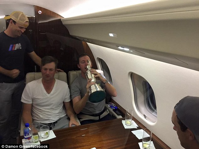 PICTURES Jordan Spieth Sculls Drink From The Claret Jug On Private Jet With