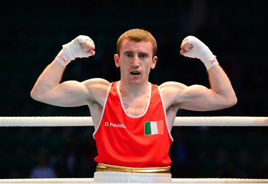 22 October 2013; Paddy Barnes, Holy Family BC, Belfast, representing, Ireland, celebrates after beating Simon Nzioki, Kenya, on a TKO, in their Men's Flyweight 52Kg Last 16 bout. AIBA World Boxing Championships Almaty 2013, Almaty, Kazakhstan. Picture credit: Paul Mohan / SPORTSFILE