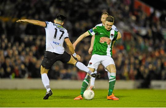 24 April 2015; Gary Buckley, Cork City, is tackled by Richie Towell, Dundalk. SSE Airtricity League Premier Division, Cork City v Dundalk. Turners Cross, Cork. Picture credit: Eoin Noonan / SPORTSFILE