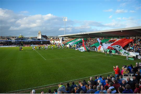 24 April 2015; Both teams make their way out to the pitch before the game. SSE Airtricity League Premier Division, Cork City v Dundalk. Turners Cross, Cork. Picture credit: Eoin Noonan / SPORTSFILE