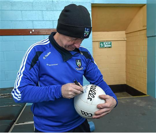 Monaghan kit man, Francis McGinnity writing the Monaghan name on the ball. Bank of Ireland Dr. McKenna Cup, Group C, Round 2, Monaghan v Armagh