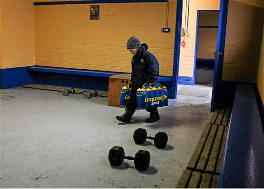 Eight year old Joshua McLoughlin, from Dromard, Co. Longford, lends a helping hand before the game
