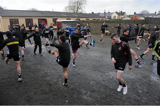 The Sligo players warm up outside the dressing rooms at Tuam Stadium before the match. FBD League, Section B, Round 1, Galway v Sligo, Tuam Stadium, Tuam