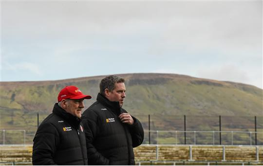 Tyrone manager Mickey Harte and selector Gavin Devlin walk the pitch before the game. Bank of Ireland Dr. McKenna Cup, Group A, Round 2, Derry v Tyrone