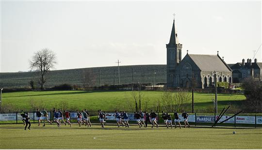 A general view of the Louth team warming up before the game. Bord na Mona O'Byrne Cup, Group B, Louth v Offaly, Darver Centre of Excellence, Dowdallshill