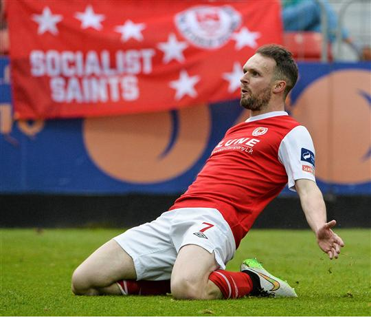 29 May 215; St Patrick's Athletic's Conan Byrne celebrates after scoring his side's first goal. Irish Daily Mail FAI Senior Cup, Second Round, St Patrick's Athletic v Shamrock Rovers. Richmond Park, Dublin. Picture credit: David Maher / SPORTSFILE