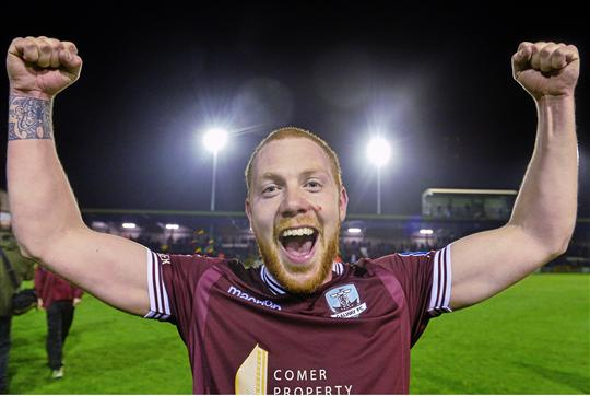 31 October 2014; Ryan Connolly, Galway, celebrates at the end of the game. SSE Airtricity League Promotion/Relegation, Play-Off, Second Leg, Galway v UCD, Eamonn Deacy Park, Galway. Picture credit: David Maher / SPORTSFILE