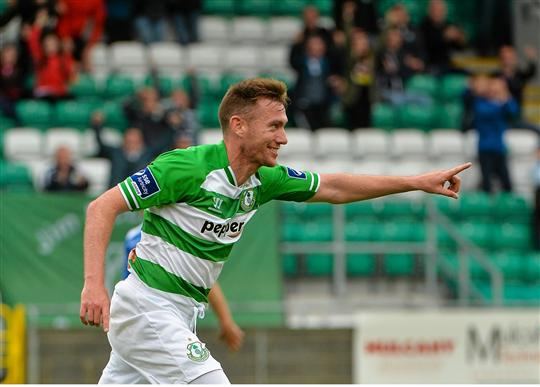 26 July 2015; Patrick Cregg, Shamrock Rovers, celebrates his goal against Limerick. SSE Airtricity League, Premier Division, Shamrock Rovers v Limerick. Tallaght Stadium, Tallaght, Co. Dublin. Picture credit: Sam Barnes / SPORTSFILE