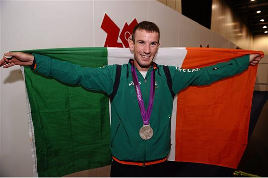 11 August 2012; Team Ireland's John Joe Nevin, men's bantam 56kg, celebrates with his Olympic silver medal. London 2012 Olympic Games, Boxing, South Arena 2, ExCeL Arena, Royal Victoria Dock, London, England. Picture credit: David Maher / SPORTSFILE