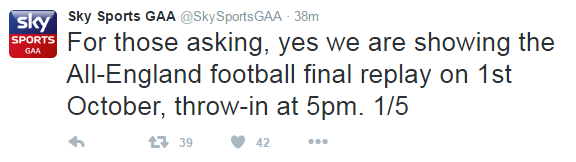 Sky Sports GAA's Twitter Caused Confusion With Bizarre
