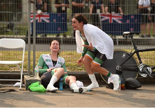 Katie-George Dunlevy of Ireland, right, and her pilot Eve McCrystal, react as they are informed that they have won gold in the Women's B Time Trial at the Pontal Cycling Road during the Rio 2016 Paralympic Games in Rio de Janeiro, Brazil. Photo by Diarmuid Greene/Sportsfile