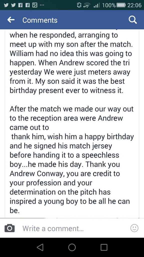 Andrew Conway Provides Outstanding Birthday Present After