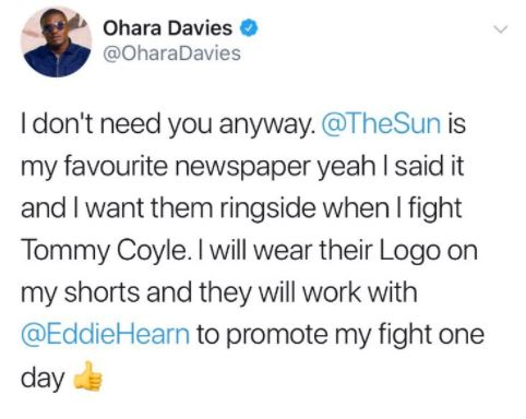 eddie hearn the sun ohara davies