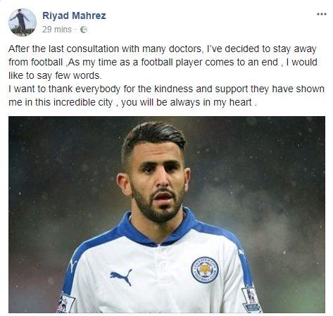 riyad mahrez retirement statement facebook