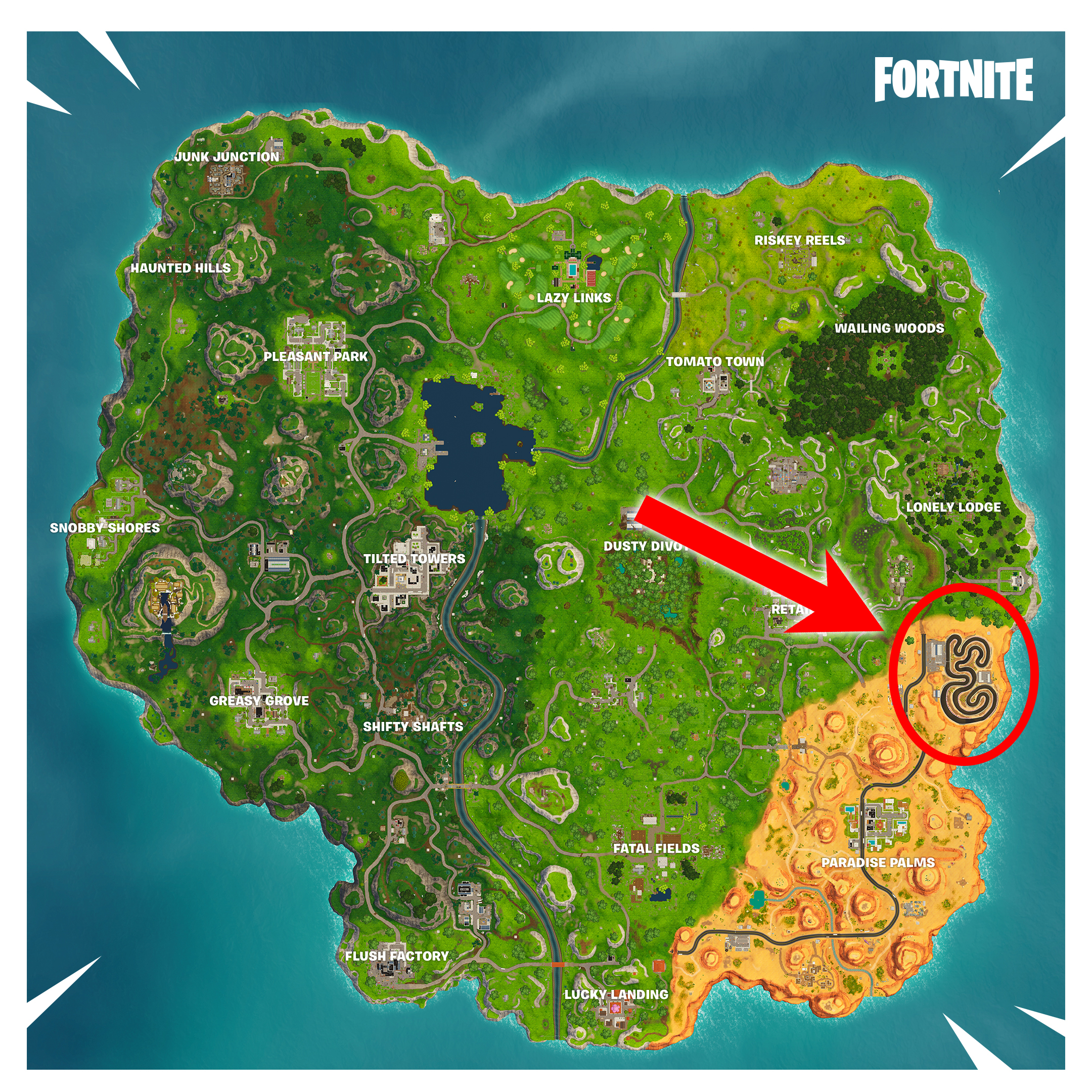 where is the race track in fortnite