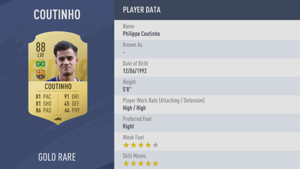 Coutinho FIFA 19 rating