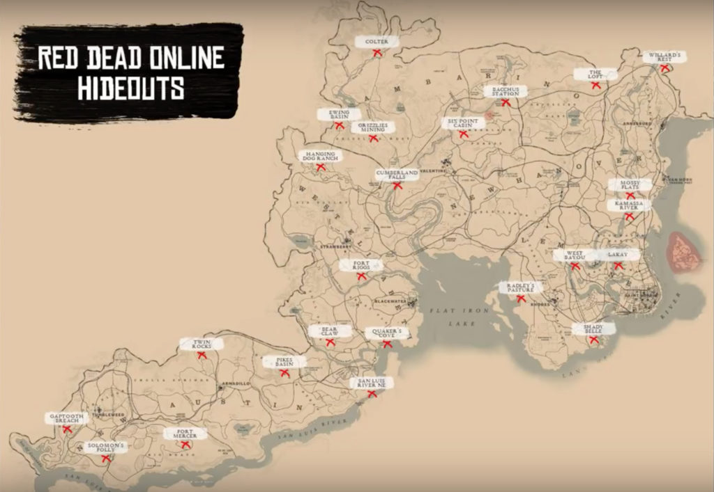 Red Dead Redemption Us Map.Where Are The Red Dead Redemption 2 Online Gang Hideouts Balls Ie