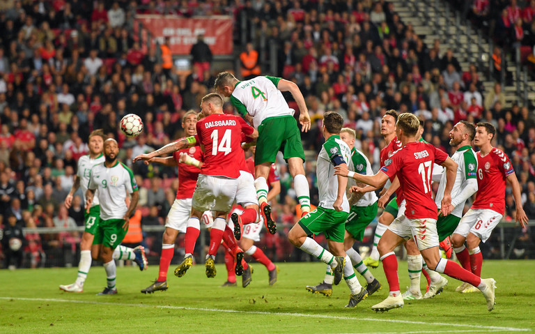 Shane Duffy scores against Denmark in a Euro 2020 Qualifier