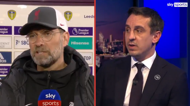 Liverpool manager Jurgen Klopp being interviewed by Sky Sports, with a separate image of Sky Sports football pundit Gary Neville in studio