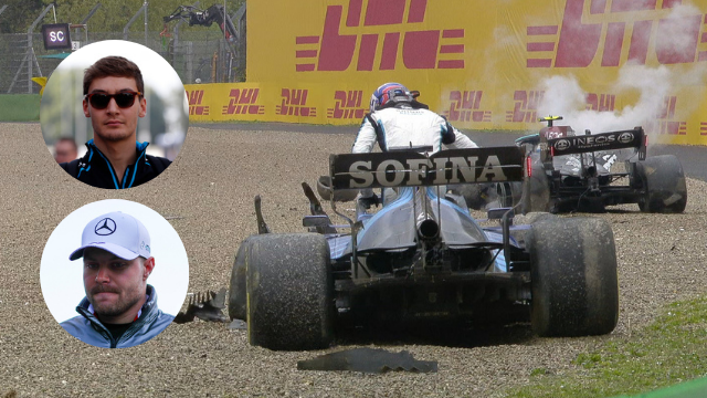 The Williams car of George Russell and the Mercedes car of Valtteri Bottas after their race-ending collision at the Imola Grand Prix, with inserts of both driver's faces.