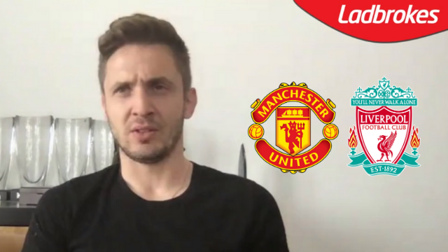 Kevin Doyle appearing on The Buildup Podcast, with inserts of the Manchester United and Liverpool crests