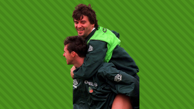 Irish teammates Roy Keane and Alan McLoughlin.